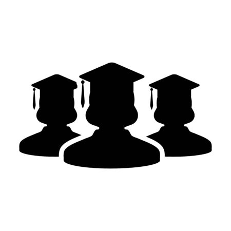 Degree icon vector female group of students person profile avatar with mortar board hat symbol for school, college and university graduation in flat color glyph pictogram illustration Иллюстрация