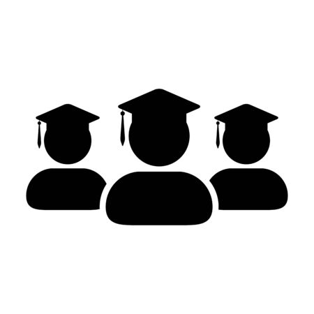 Academic icon vector male group of students person profile avatar with mortar board hat symbol for school, college and university degree in flat color glyph pictogram illustration