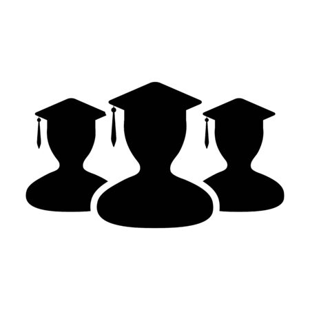 College icon vector male group of students person profile avatar with mortar board hat symbol for school and university graduation degree in flat color glyph pictogram illustration Иллюстрация