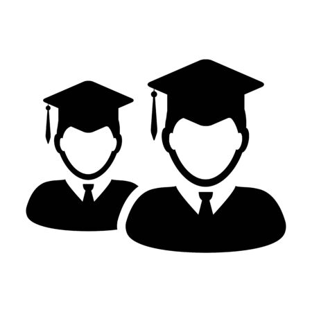 Knowledge icon vector male group of students person profile avatar with mortar board hat symbol for school, college and university graduation degree in flat color glyph pictogram illustration