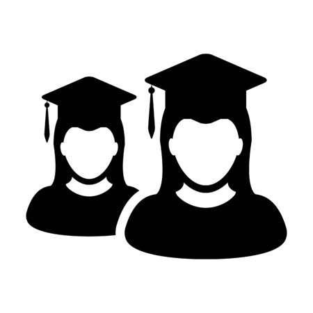 Education icon vector female group of students person profile avatar with mortar board hat symbol for school, college and university graduation degree in flat color glyph pictogram illustration
