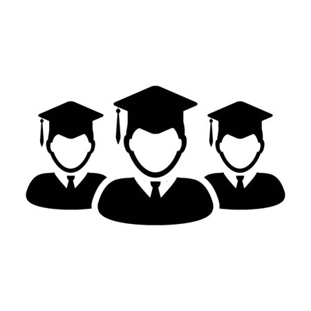 Graduation icon vector male group of students person profile avatar with mortar board hat symbol for school, college and university degree in flat color glyph pictogram illustration