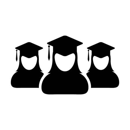 College icon vector female group of students person profile avatar with mortar board hat symbol for school and university graduation degree in flat color glyph pictogram illustration