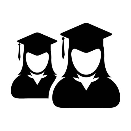 Student icon vector female group of person profile avatar with mortar board hat symbol for school, college and university graduation degree in flat color glyph pictogram illustration