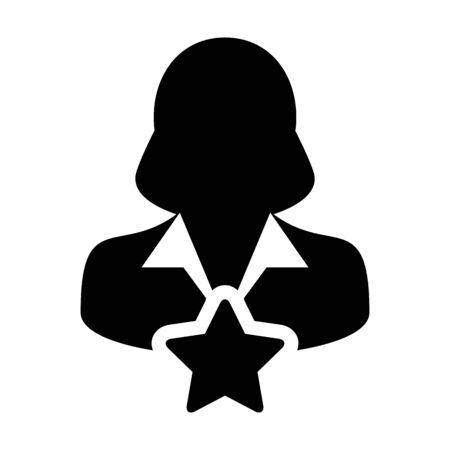 Bookmark icon vector with star female user person profile avatar symbol for rating in a glyph pictogram illustration Illusztráció