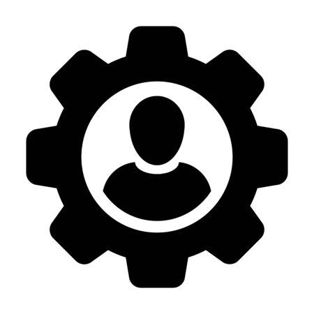 Avatar de profil de personne d'utilisateur masculin de vecteur d'icône professionnelle avec la roue dentée d'engrenage pour des arrangements et la configuration dans l'illustration plate de pictogramme de glyphe de couleur
