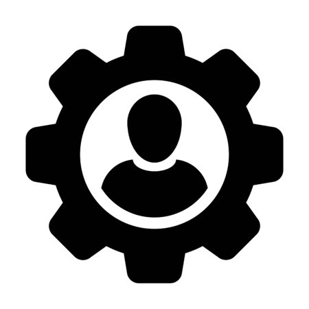 Professional icon vector male user person profile avatar with gear cogwheel for settings and configuration in flat color glyph pictogram illustration