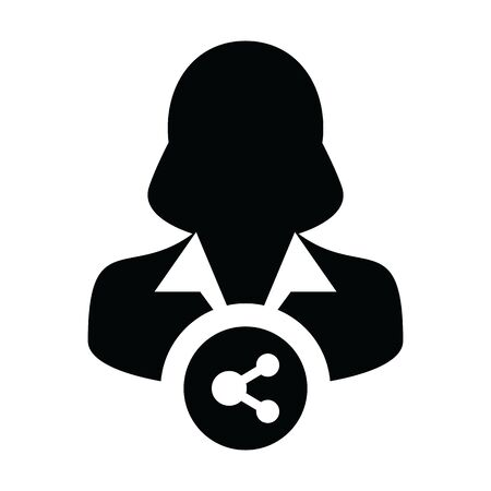 Technology icon vector male person profile avatar with share symbol in a glyph pictogram illustration