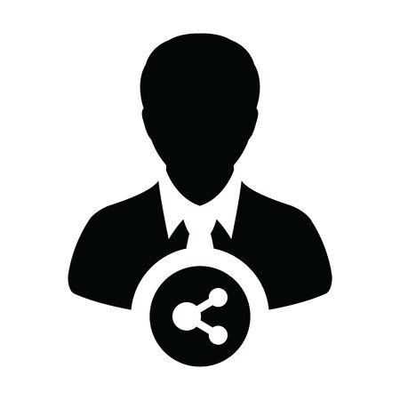 Social share icon vector male person profile avatar symbol with network sign in a glyph pictogram illustration