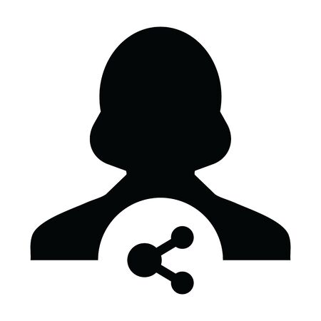 Share symbol icon vector female person profile avatar with network sign in a glyph pictogram illustration