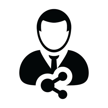 Social icon vector male person profile avatar with share symbol in a glyph pictogram illustration