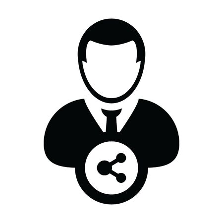 Profile icon with share symbol vector male person avatar in a glyph pictogram illustration