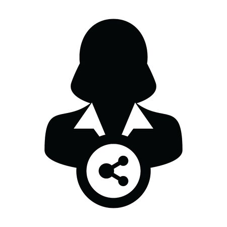 Connect icon vector male person profile avatar with share symbol in a glyph pictogram illustration
