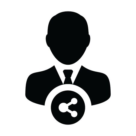 Avatar icon with share symbol vector male person profile in a glyph pictogram illustration Иллюстрация
