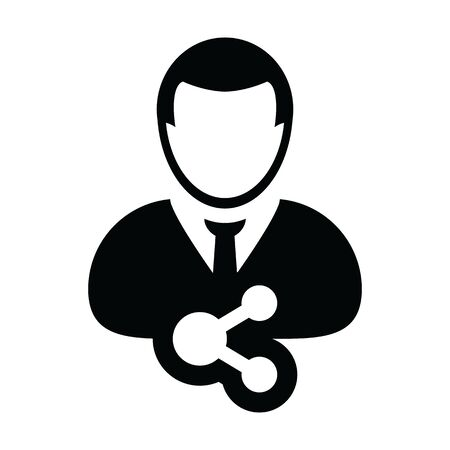 User icon with share symbol vector male person profile in a glyph pictogram illustration Иллюстрация