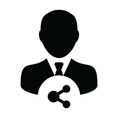 Person icon with share symbol vector male profile avatar in a glyph pictogram illustration