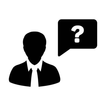 Profile icon with question mark speech bubble symbol vector male person avatar for help in a flat color glyph pictogram illustration