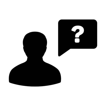 User icon with question mark speech bubble symbol vector male person profile avatar for discussion and information in a flat color glyph pictogram illustration Ilustração
