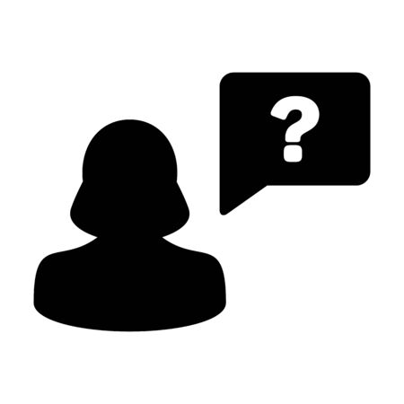 Avatar icon with question mark speech bubble symbol vector female person profile for discussion and information in a flat color glyph pictogram illustration