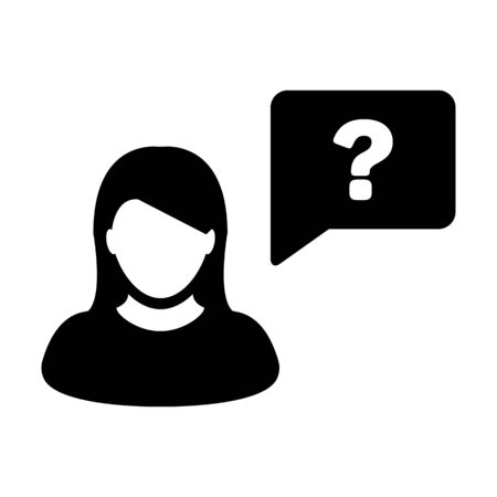 Question mark icon vector female person profile avatar with speech bubble symbol for help sign in a flat color glyph pictogram illustration