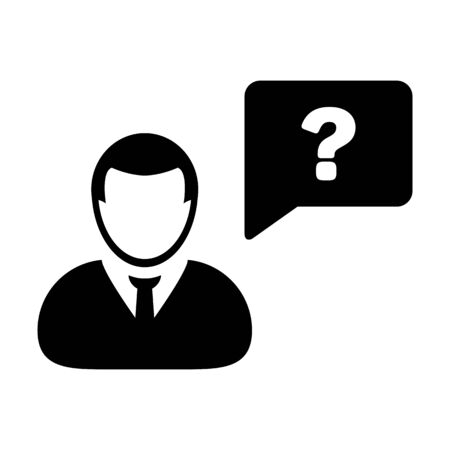 Question mark icon vector male person profile avatar with speech bubble symbol for help sign in a flat color glyph pictogram illustration Ilustração