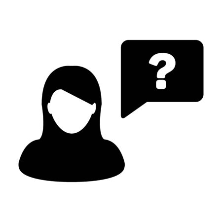 Profile icon with question mark speech bubble symbol vector female person avatar for discussion and information in a flat color glyph pictogram illustration Ilustração