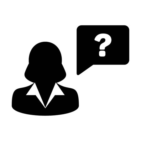 Question icon vector female person profile avatar with speech bubble symbol for discussion and information in a flat color glyph pictogram illustration Ilustração