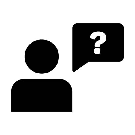 People icon vector male person profile avatar with question mark speech bubble symbol for discussion and information sign in flat color glyph pictogram illustration