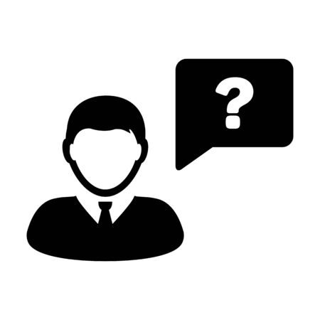 Question Mark Icon Vector With Person Message Male User Avatar Symbol in Flat Color Glyph Pictogram  illustration