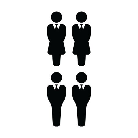 Man and woman icon vector group of people symbol avatar for business management persons in flat color glyph pictogram illustration