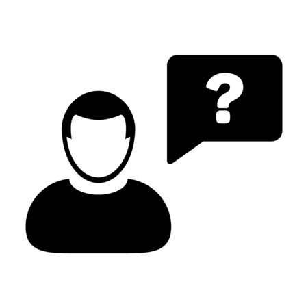 Question mark icon vector male person profile avatar with speech bubble symbol for discussion and information in flat color glyph pictogram illustration