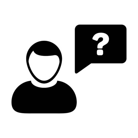 Avatar icon with question mark speech bubble symbol vector male person profile for discussion and information in a flat color glyph pictogram illustration