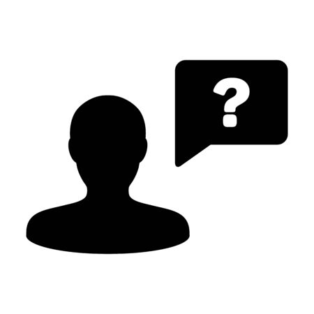Avatar icon with question mark speech bubble symbol vector male person profile for help in a flat color glyph pictogram illustration