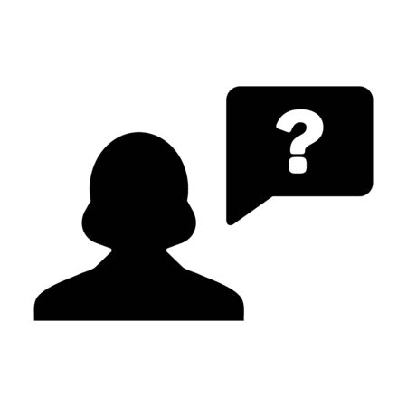 Question icon vector female person profile avatar with speech bubble symbol for help sign in a flat color glyph pictogram illustration