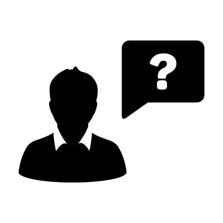 Person icon with question mark speech bubble symbol vector male profile avatar for help in a flat color glyph pictogram illustration