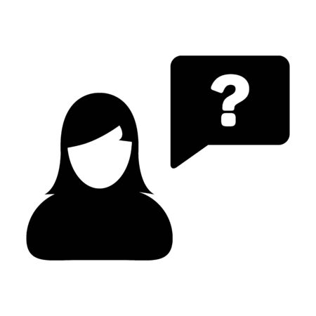 Person icon with question mark speech bubble symbol vector female profile avatar for help in a flat color glyph pictogram illustration