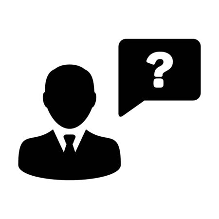 Question icon vector male person profile avatar with speech bubble symbol for help sign in a flat color glyph pictogram illustration