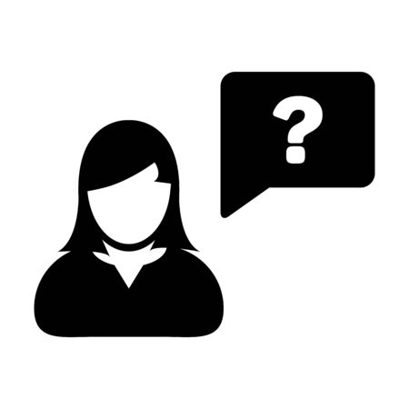 Question mark icon vector female person profile avatar with speech bubble symbol for discussion and information in flat color glyph pictogram illustration