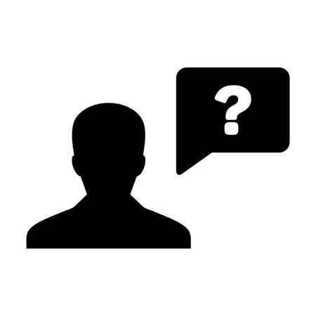 Profile icon with question mark speech bubble symbol vector male person avatar for discussion and information in a flat color glyph pictogram illustration