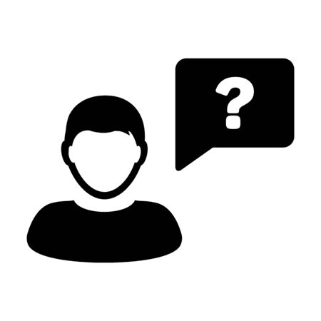 Question icon vector male person profile avatar with speech bubble symbol for discussion and information in a flat color glyph pictogram illustration Ilustração