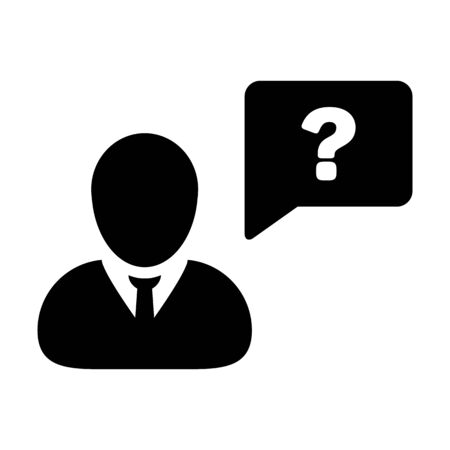 Message icon vector male person profile avatar with question mark speech bubble symbol for discussion, information and help sign in flat color glyph pictogram illustration