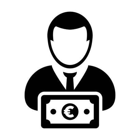 Money icon vector male user person profile avatar with Euro sign currency symbol for banking and finance in flat color glyph pictogram illustration Illustration