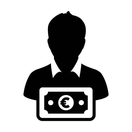 Sales icon vector male user person profile avatar with Euro sign currency money symbol for banking and finance business in flat color glyph pictogram illustration