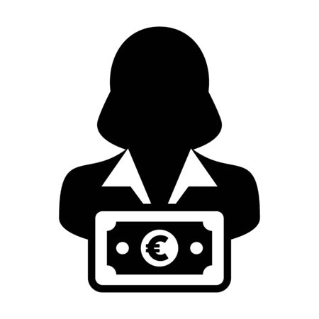 Cash icon vector female user person profile avatar with Euro sign currency money symbol for banking and finance business in flat color glyph pictogram illustration
