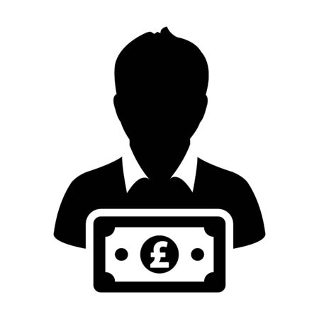 Money icon vector male user person profile avatar with Pound sign currency symbol for banking and finance in flat color glyph pictogram illustration Illustration
