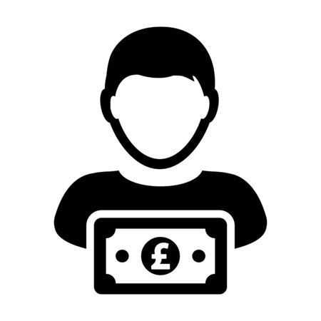 British Pound sign icon vector male user person profile avatar with currency money symbol for banking and finance business in flat color glyph pictogram illustration Illustration