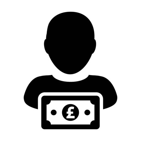 Payment icon vector male user person profile avatar with Pound sign currency money symbol for banking and finance business in flat color glyph pictogram illustration