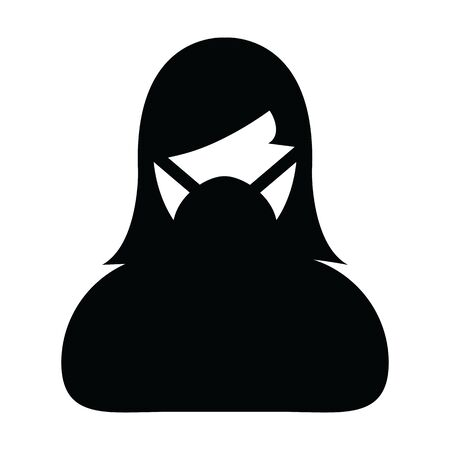Virus mask icon vector for safety protection person profile female avatar symbol for medical and health care in a glyph pictogram illustration