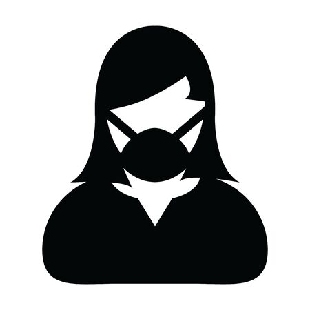 Mask icon vector person profile female avatar symbol for medical and health care protection in a glyph pictogram illustration Illustration