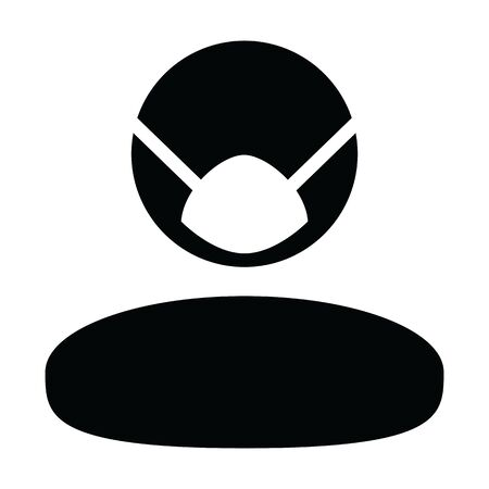 Dust mask icon vector for virus safety protection person profile male avatar symbol for health care in a glyph pictogram illustration
